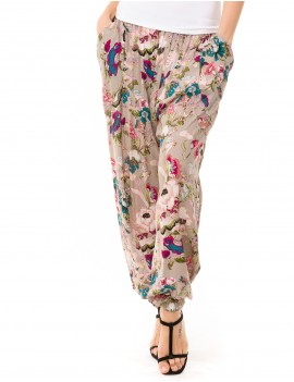 Zaria Pant - Japonese Floral Grey