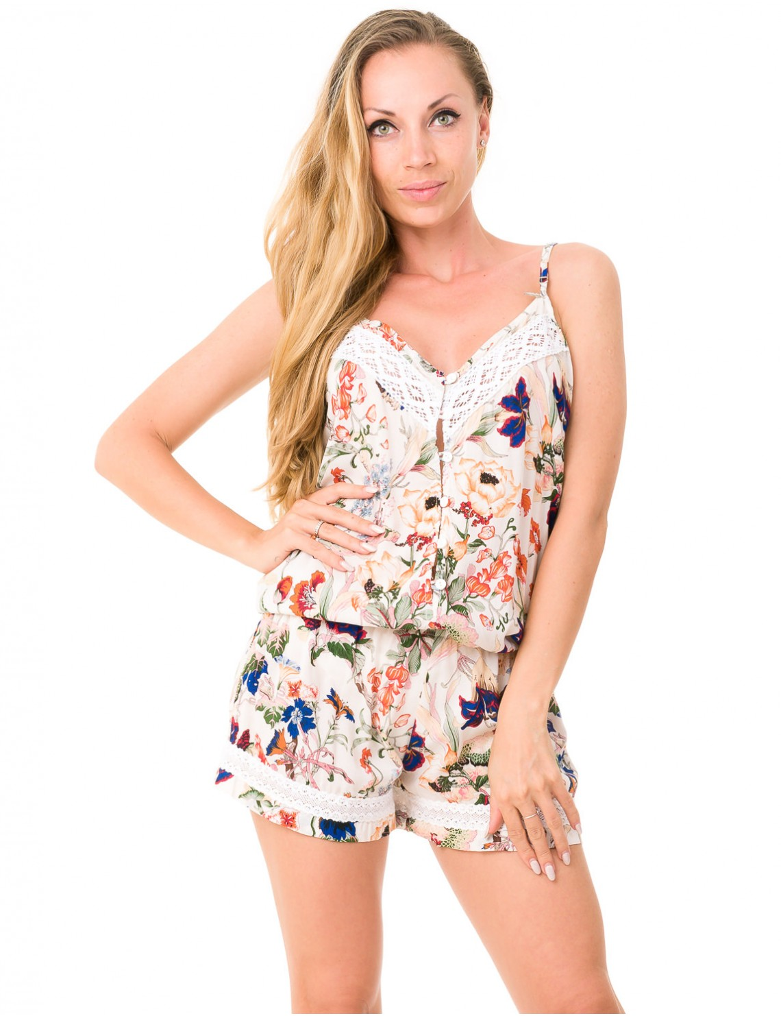 1914c37f0f13 Laura Playsuit 2 - Japonese Floral White - Saona Collection