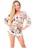 Laura Playsuit - Japonese Floral White