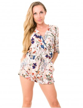 Lily Playsuit - Japonese Floral White