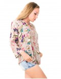 Viera Top - Japonese Floral Grey