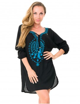 Ibiza Cover Up - Black Embrodery Turkish