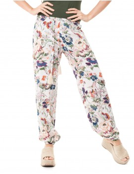 Pant Taima - Japonese Floral White