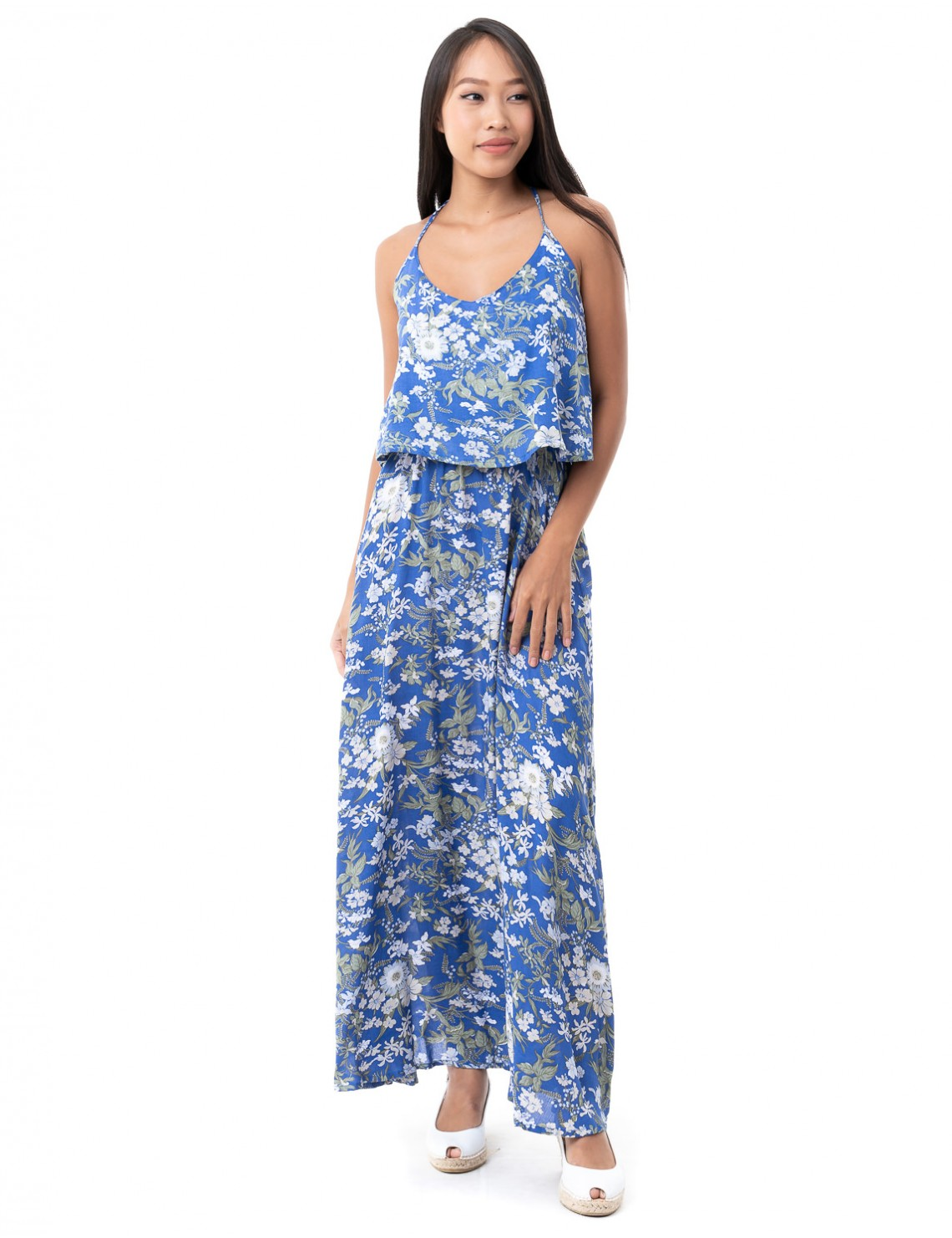 Hawai Maxi Dress - Spring Flower Blue
