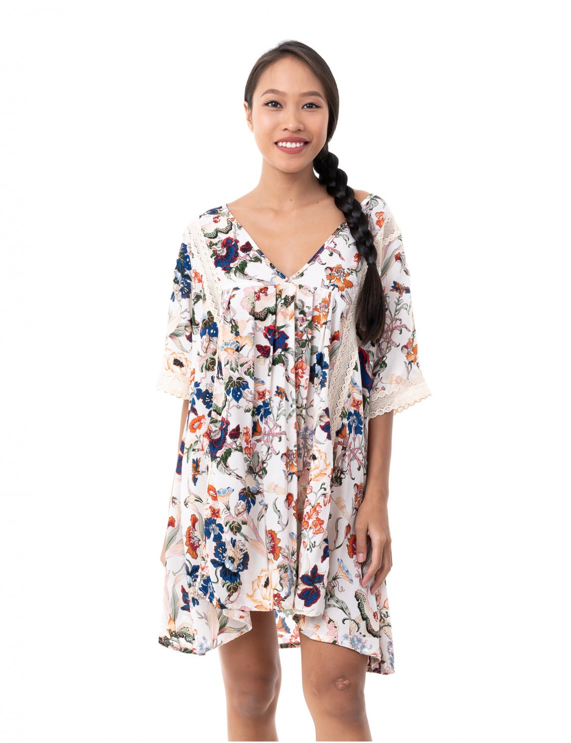 Ziru Cover Up - Japonese Floral White