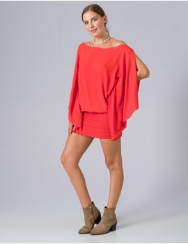 Saha Poncho - Orange Flamboyant